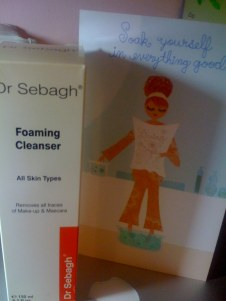 The cute card and Dr Sebagh Foaming Cleanser