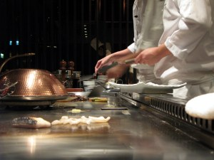 There is something to do while waiting for dinner - watching your dinner being made!