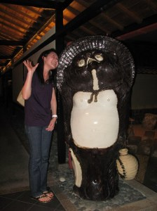 Me and the famous Sake Bear at the entrace walkway to the restaurant. I thought it was a Panda...