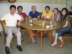 Restaurant Malaysia- good home cooked food (halal, of course) - this pic is weird cos all our feet are in it too!