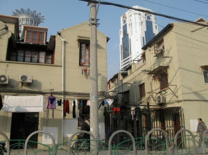 5 mins from centre of Shanghai - you still see the dirty laundry being air dried outside homes...how interesting