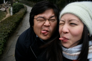 Us at the Calming Gardens in Suzhou - yes the cold does weird things to your face