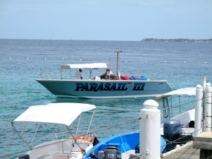 The boat specially for parasailing. On a busy day, this boat takes about 40 people up to space.