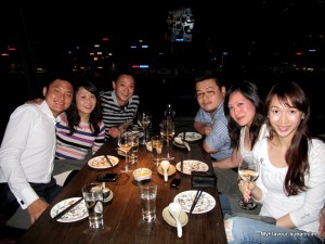 From left: Justin, Vick, Joe, Ron, Me, Stena. If it were daytime, you would be able to see the famous HK skyline and harbour.