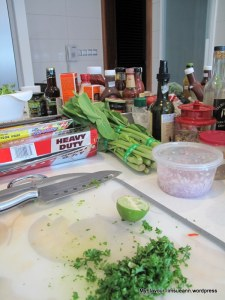 Can you see my well chopped English Parsley - ready for my bruschettas. Chopping with a vengence!