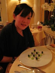 Highlight - my entree` - some work of art - Caviar Imperial with peas in jelly cone and asparagus puree. The best I can describe it.