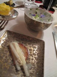 ANother part of the entree` - Cannot remember what these were, but the brown almond biscuit was doused with heaps of cognac, and the bowl was covereed with delicious rice paper roll.
