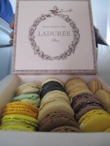 Ode to my mates who have been singing praises about Laduree Macarons. Oh look at those colours!!! We like the Blackberry & Violet flavoured ones alot! They met in your mouth- all of em.