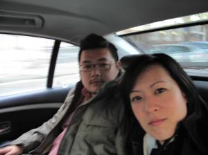 Us in a taxi in Amsterdam - looking as stoned as can be...on the way to a FANTASTIC Japanese dinner at Yamazato in the new Hotel Okura in Amsterdam. One Michelin Star - we found it by accident.