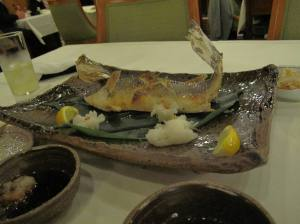 Grilled sea bass with salt - the fish meat was so juicy, I tell u....