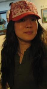 Me camwhoring in Vern's cap - chinese wordings drawn by Vern