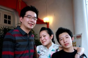 Jeen, Me and Vern at Maple Gold Restaurant/Club in Penang Chinese New Year 2008.