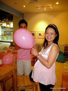 Is this Balloon as big as my tum tum? I don't like what my Hubby's t-shirt says so I'm blocking it!